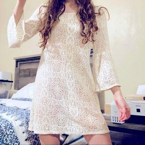 American Eagle Boho Hippie White Crotchet Dress M
